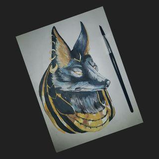 Mythical Egyptian Dog Painting