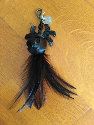 Colgante negro con plumas