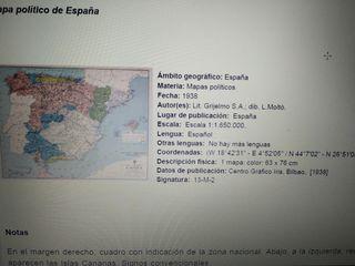 mapa político España, zona nacional 1938
