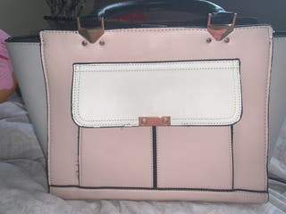Pink and white bag