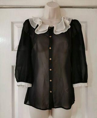Black chiffon shirt Size 6