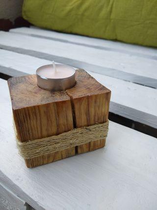 Portavelas madera NUEVO rústico porta velas