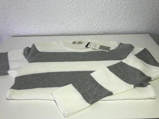 Jersey blanco rayas grises Talla M