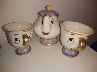 2 tazas de chip + tetera señora potts