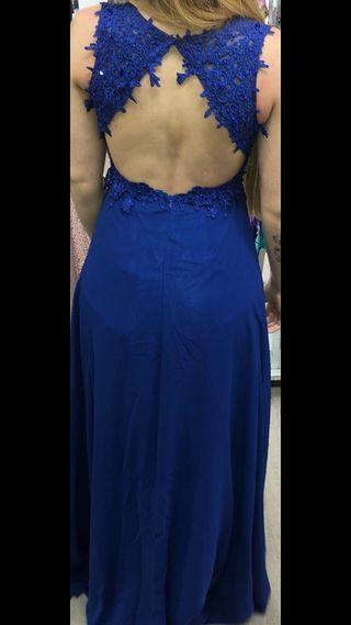 Vestido largo boda azul eléctrico