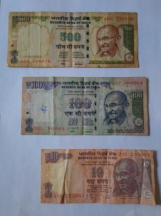 3 BILLETES DE LA INDIA