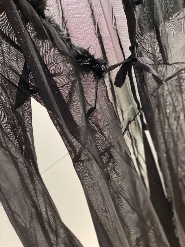 Lencería negra con plumas transparente