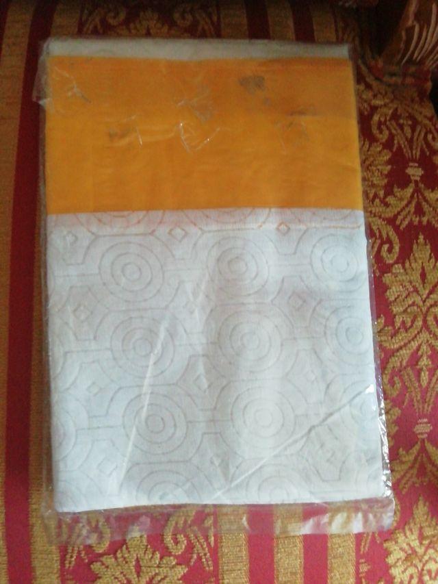 Mantel NUEVO organza 150x150cm amarillo blanco