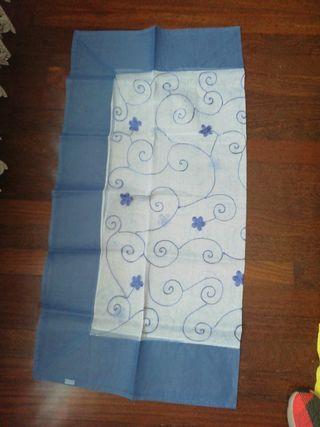 Mantel NUEVO organza azul blanco