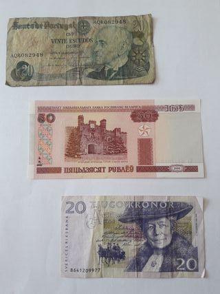 3 BILLETES PORTUGAL, BIELORRUSIA, SUECIA