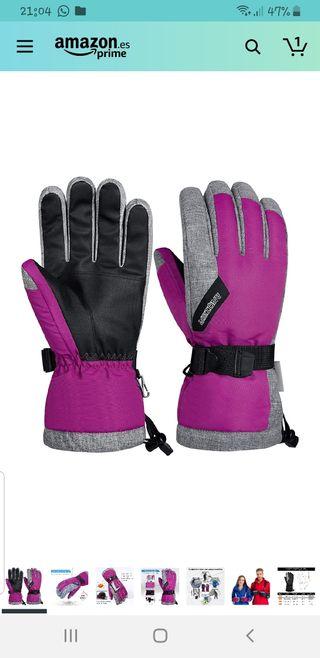 NUEVOS guantes esquí rosas L