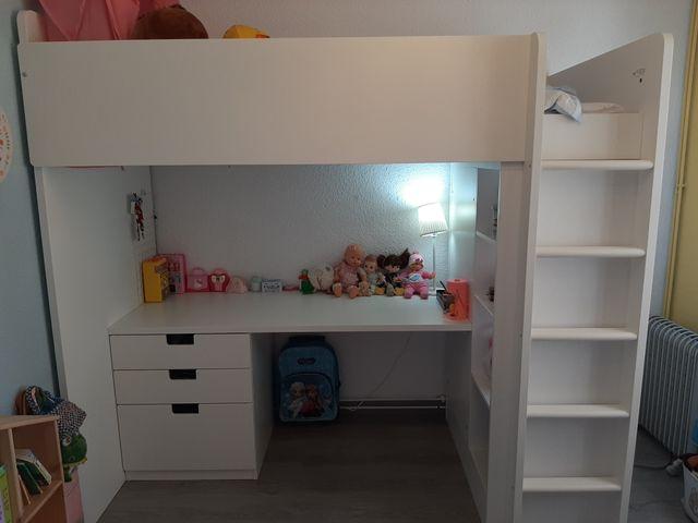 Cama alta + Escritorio + Armario Ikea STUVA