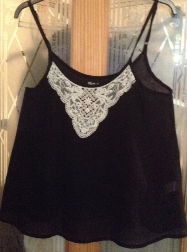 Black chiffon strappy top Size 12