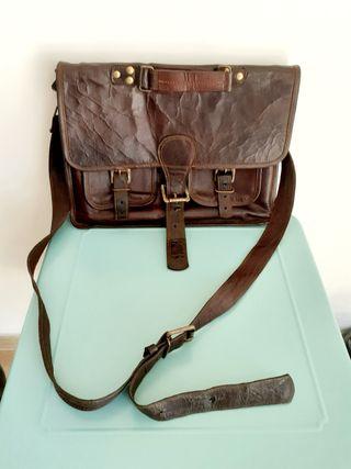 Antigua bolso de piel años 1930 restaurada