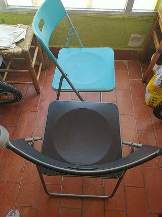 Relaxdays Pack de 2 Sillas Plegables de Jard/ín y Terraza Marr/ón 82 x 43,5 x 47 cm Pl/ástico y Hierro