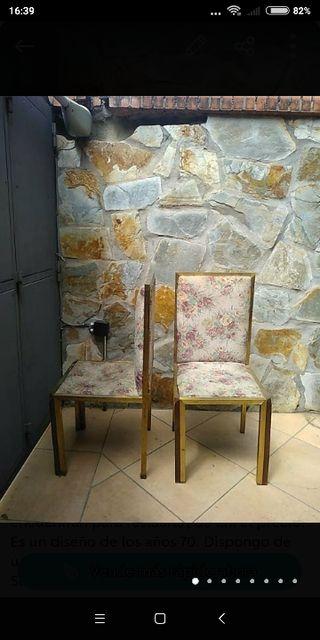 6 sillas de latón doradas líneas rectas restaurar