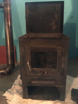 Estufa de leña con horno más tubos inox