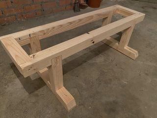 Banco madera de 6x6cm con tablas