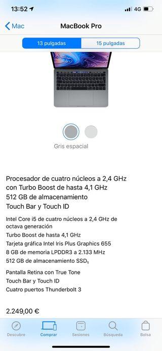 MacBook Pro 13 512SSD 8GBRAM 4Thunderbolt 3