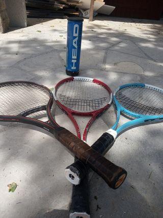3 raquetas de Tenis+ 4 pelotas Head