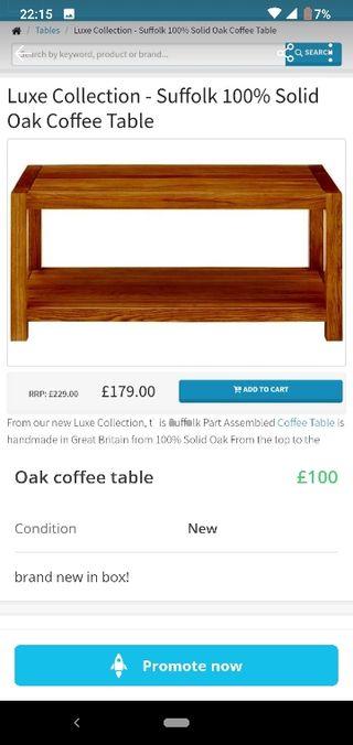 Suffolk oak coffee table