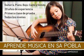 Clases de guitarra, piano, bajo, sonido, batería..