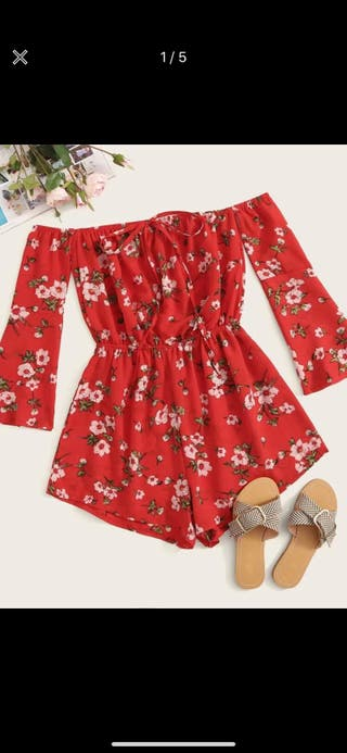 SHEIN red floral playsuit