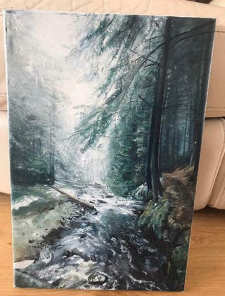 Forest and river painting