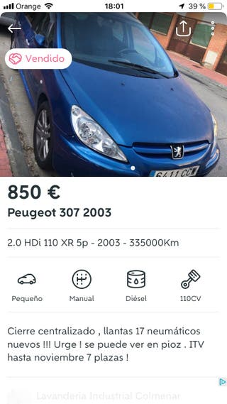 Peugeot 307 2002.OJO LEER BIEN.está en coslada