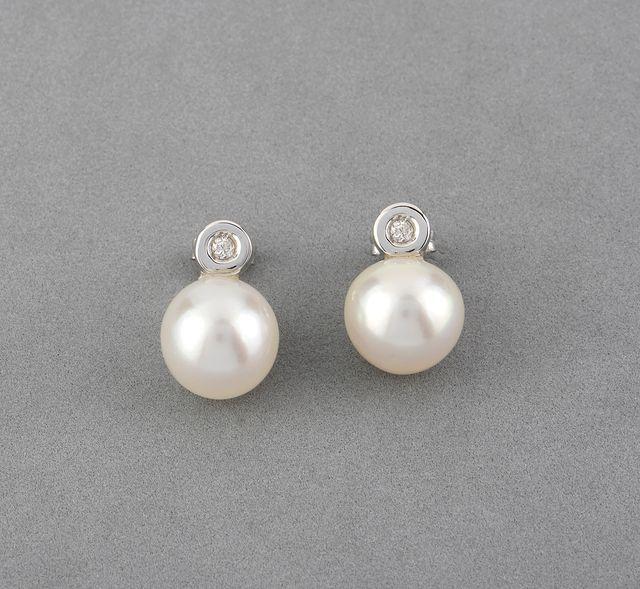 Pendientes Perlas Australianas y Diamantes Oro 18k