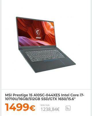 Ordenador portátil MSI prestige 15 A10SC NUEVO