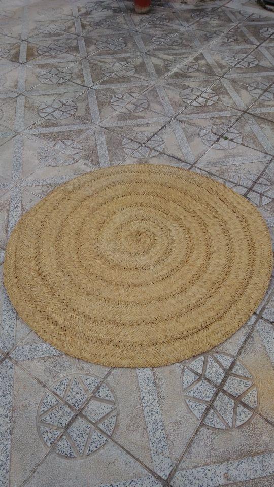 alfombra redonda de esparto
