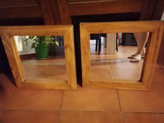 dos espejos madera Maciza.