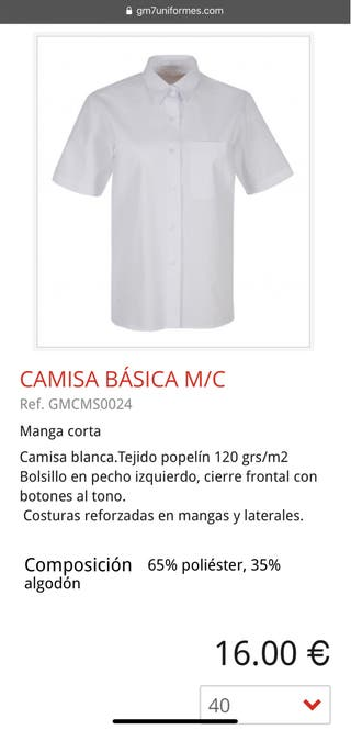 CAMISA (TALLA 40) M/C HOSTELERIA JOMA'S