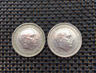 Monedas 5 pesetas. 1957