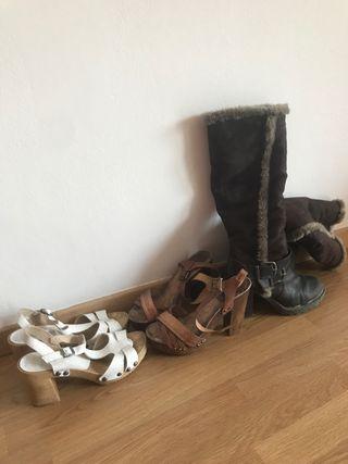 3 pares de zapatos t. 38