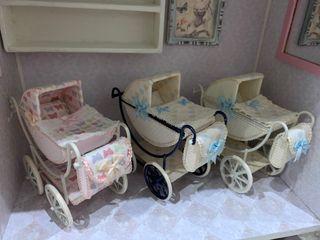 Carritos de bebé para casa de muñecas escala 1:12