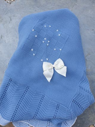 Toquilla azul bebe punto