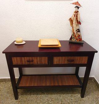Consola recibidor madera + decoración