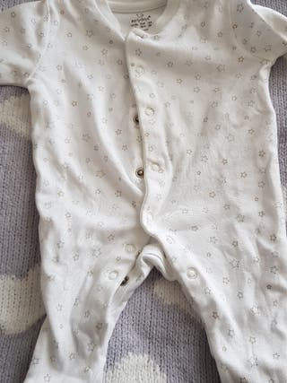 Pijama algodón manga larga. Talla 1-3 meses