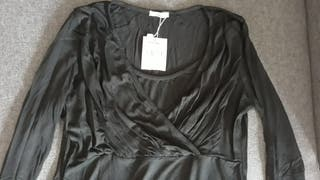 Camiseta de premamá negra manga larga. Marca Alia