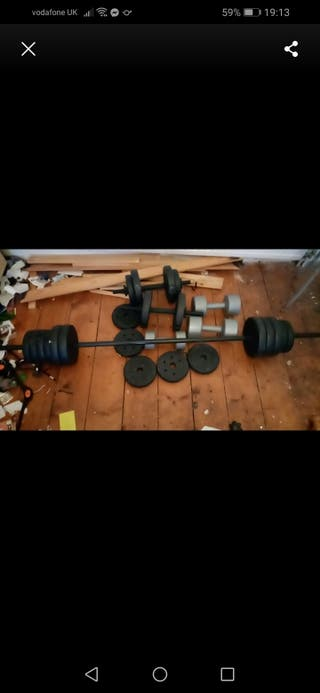 dumbells and Barbell Sets