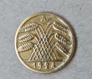 Moneda Alemana de 5 rentenpfennig 1924 A