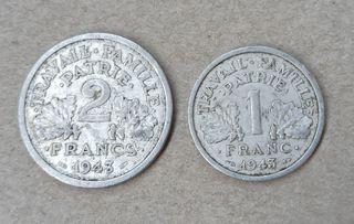 Monedas 1 y 2 Francos 1943