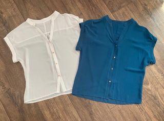 2 blusas gasa Zara talla M - azul y beige