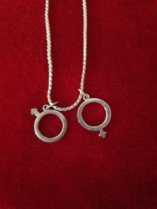 Collar con 2colgantes de plata simbolos M y H