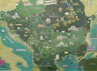 mapa cómico de los Balcanes