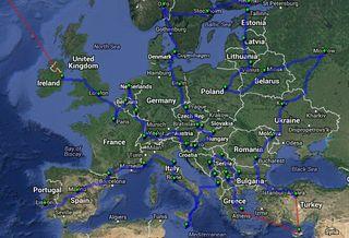 ruta por todos los países europeos