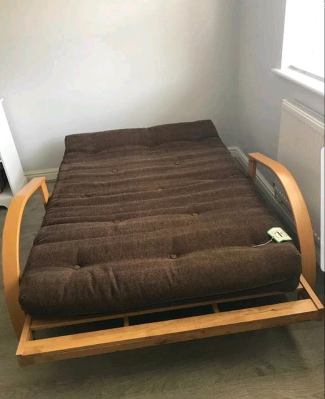 Futon day bed double mattress wooden frame