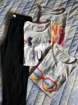 Mallas ciclista y 3 camisetas 12 años